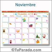 Calendario Multicolor - Diciembre 2018