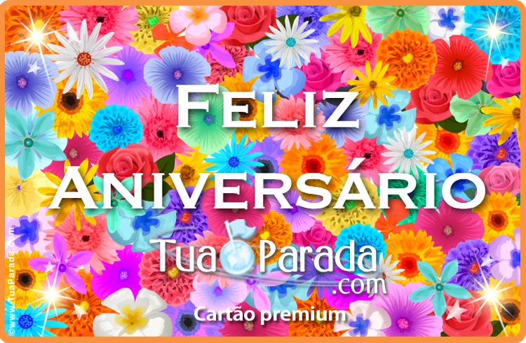 Cartão - Feliz Aniversário com flores