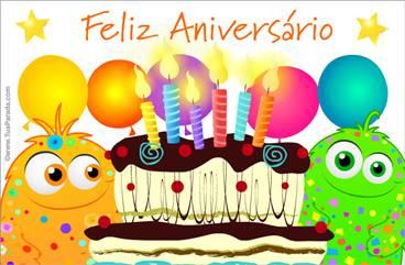 Cartão de aniversário com bolo