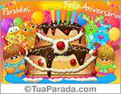 Cartão de aniversário com festa