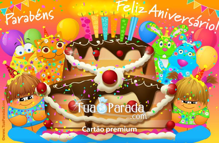 Cartão - Cartão de aniversário com festa
