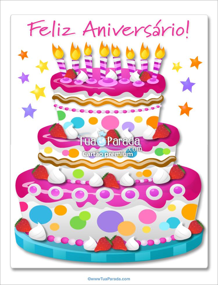 Cartão - Bolo de aniversário gigante no rosa