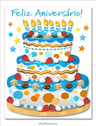 Bolo de aniversário gigante no azul