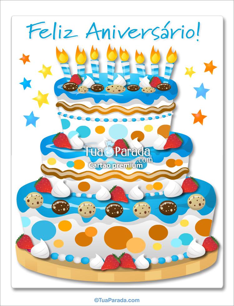 Cartão - Bolo de aniversário gigante no azul