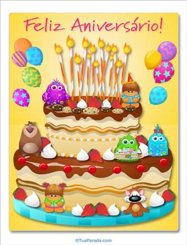 Cartão do bolo gigante