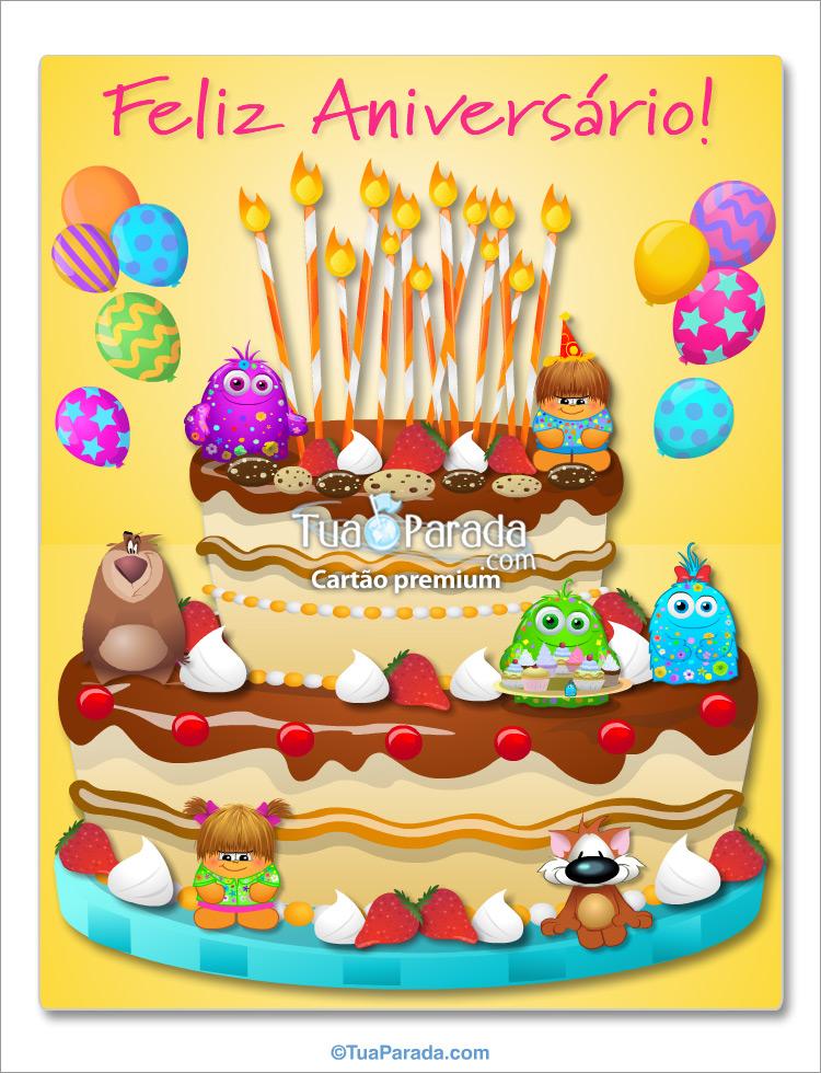 Cartão - Cartão do bolo gigante