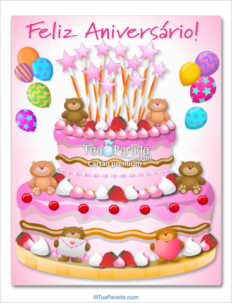 Cartão - Bolo de aniversário gigante para menina