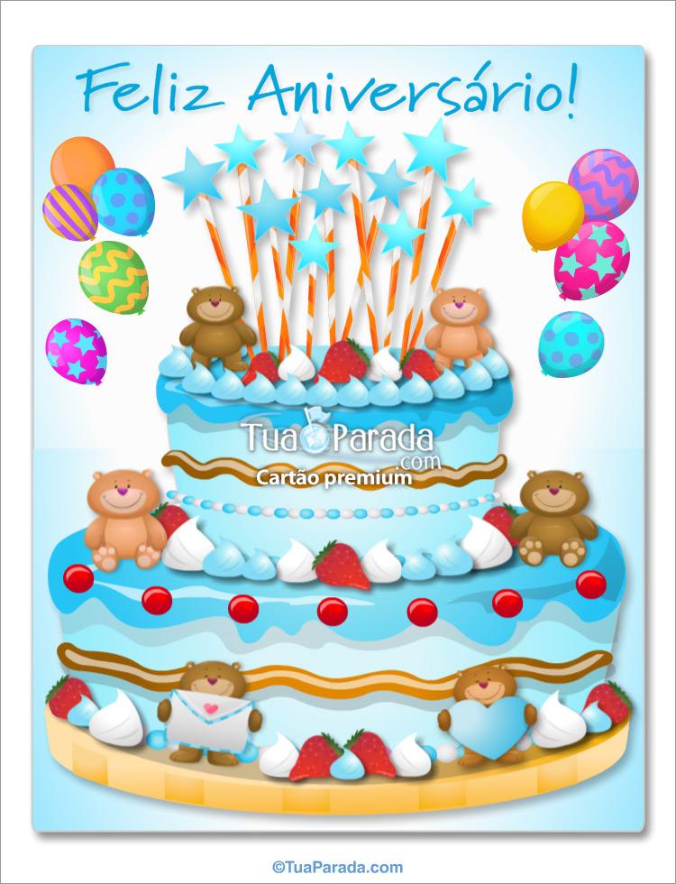 Cartão - Bolo de aniversário gigante para menino