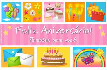 Cartão com cupcakes e bolo de aniversário