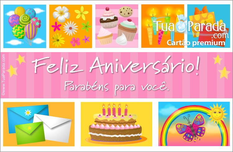 Cartão - Cartão com cupcakes e bolo de aniversário