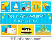 Cartão azul com cupcakes do aniversário