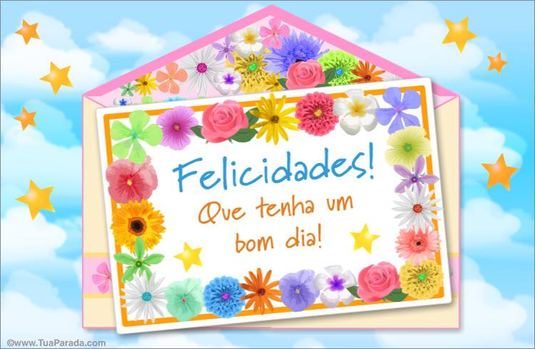 Cartão - Parabéns em envelope com flores