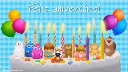 Cartão de aniversário animado com bolo