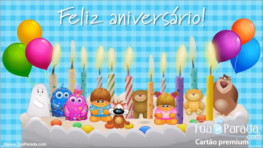 Cartão - Cartão de aniversário animado com bolo