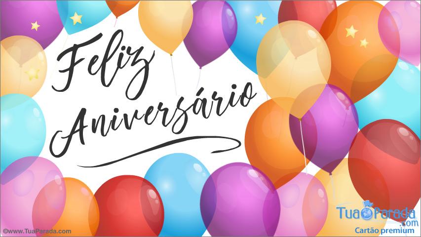 Cartão - Feliz aniversário com balões coloridos