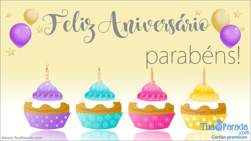 Cartão - Cartão de aniversário com cupcakes