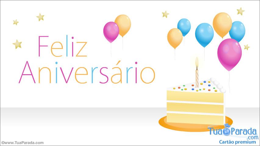 Cartão - Cartão de aniversário com bolo e balões