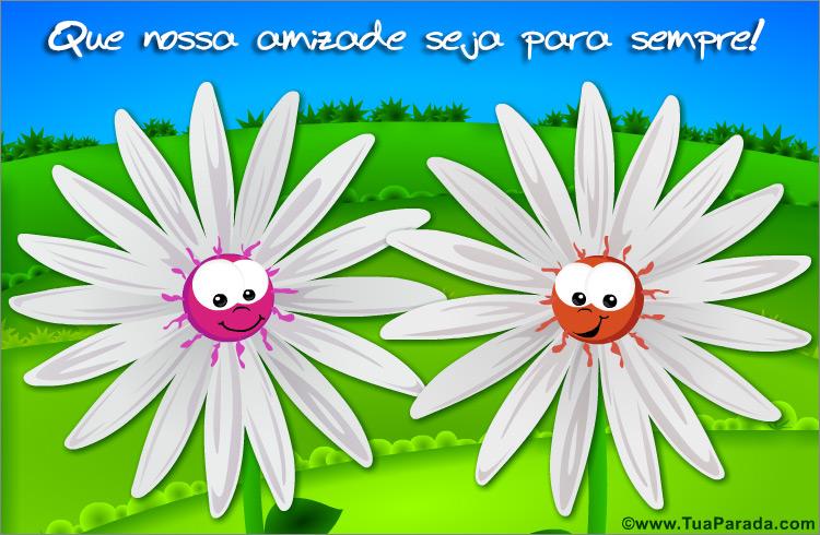 Cartão - Cartão da amizade com flores