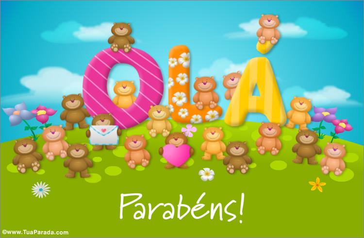 Cartão - Olá cartão com ursos pequenos
