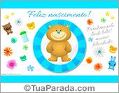 Cartão de nascimento celeste com ursinho