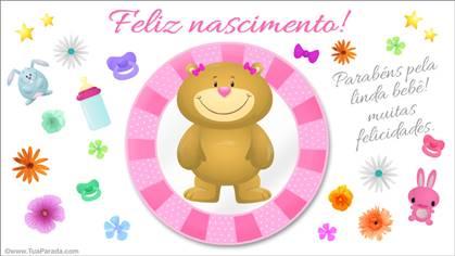 Cartão de nascimento rosa com ursinho