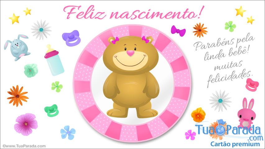 Cartão - Cartão de nascimento rosa com ursinho