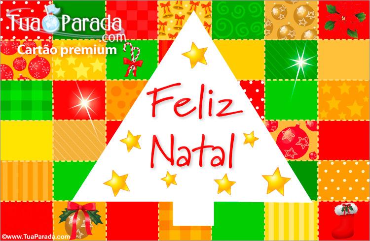 Cartão - Feliz Natal com muitas cores