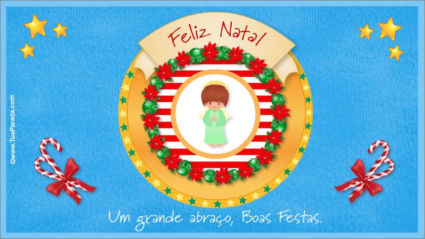 Cartão - Cartão de Natal alegre com anjo