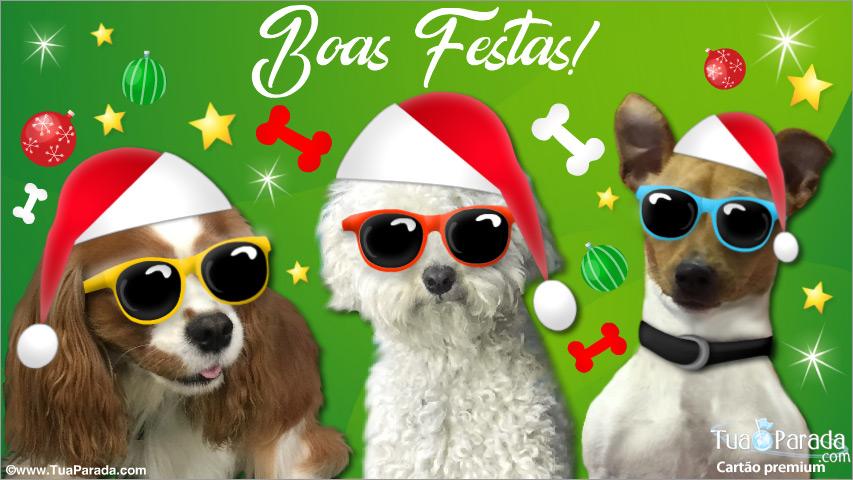 Cartão - Cartão de Natal com cachorros