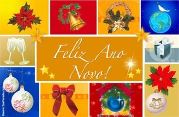 Cartão do ano novo com imagens