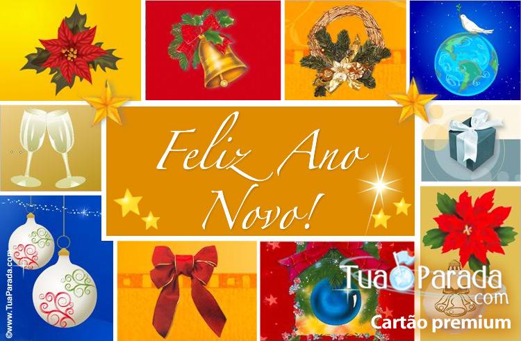 Cartão - Cartão do ano novo com imagens