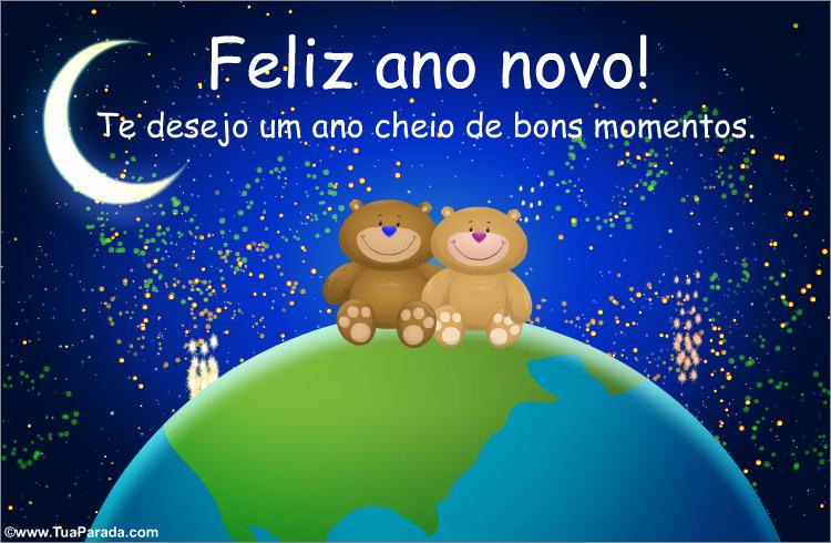 Cartão - Feliz ano novo com mundo