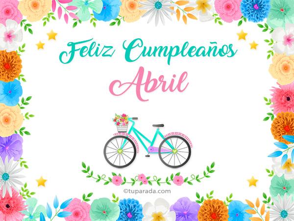 Tarjetas De Cumpleanos Con Nombre Abril Postales Cumpleanos Abril
