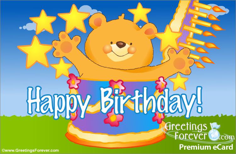 Ecard - Happy birthday with cake and bear