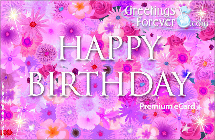 Ecard - Happy Birthday ecard with pink flowers