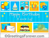Birthday egreeting with cupcakes in blue
