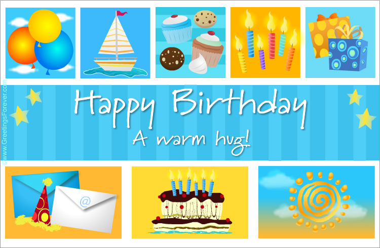 Ecard - Birthday egreeting with cupcakes in blue