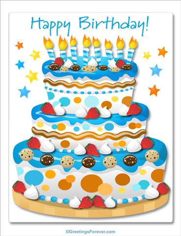 Giant ecard for birthday in blue
