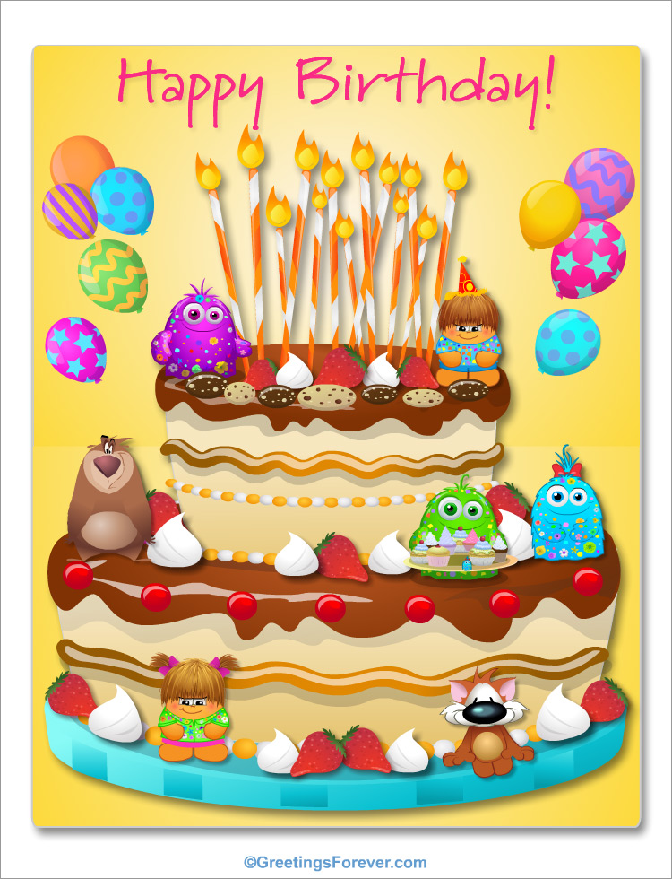 Enjoyable Giant Birthday Cake Ecard Happy Birthday Greeting Cards Birthday Cards Printable Benkemecafe Filternl