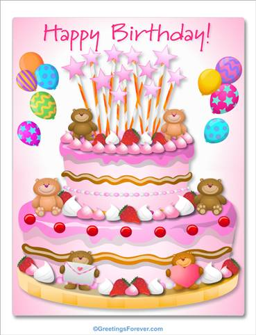Giant Cake With Little Bears For A Girl Ecards Daughters