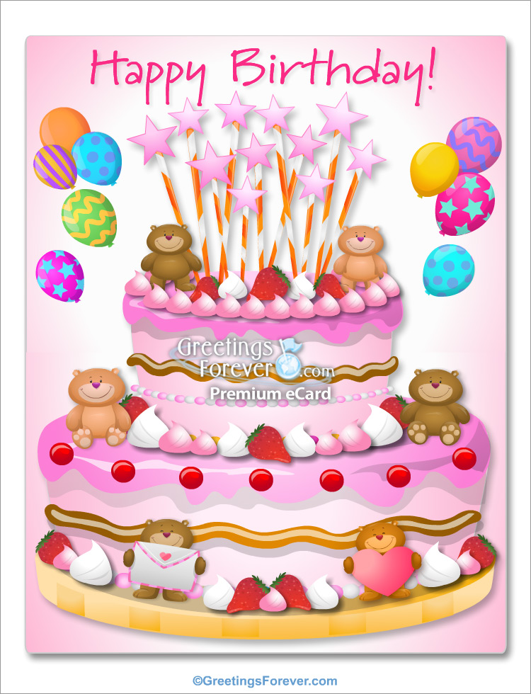Ecard - Giant cake with little bears for a girl
