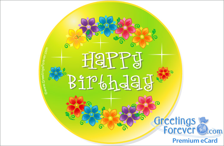 Ecard - Happy birthday ecard with flowers