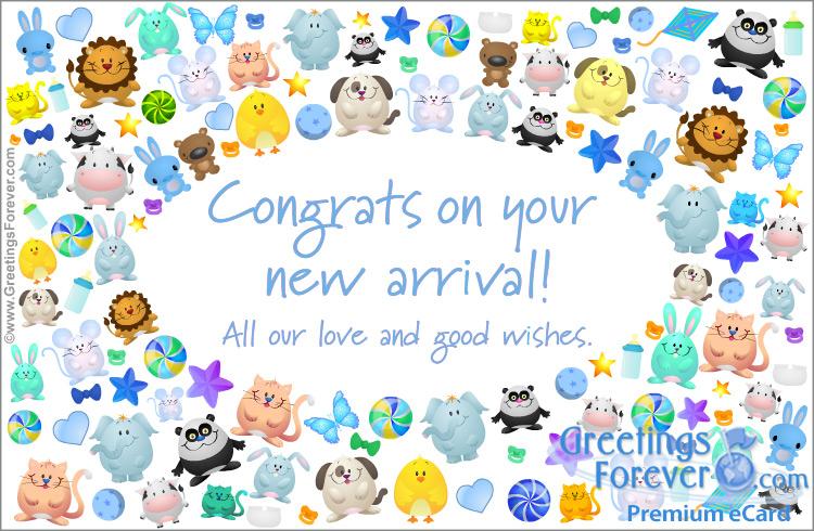 Ecard - Congrats on your new arrival, baby boy ecard