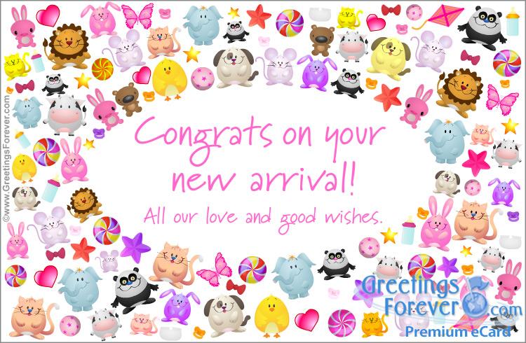 Ecard - Congrats on your new arrival, baby girl ecard
