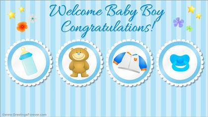 Welcome baby boy ecard