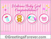 Welcome baby girl ecard