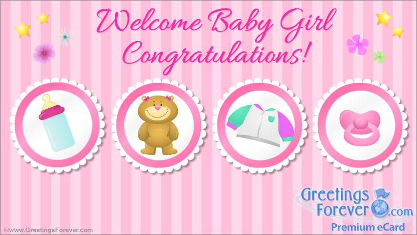 Ecard - Welcome baby girl ecard