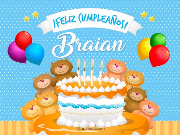 Tarjeta - Cumpleaños de Braian