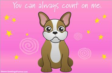 eCard in pink with little dog