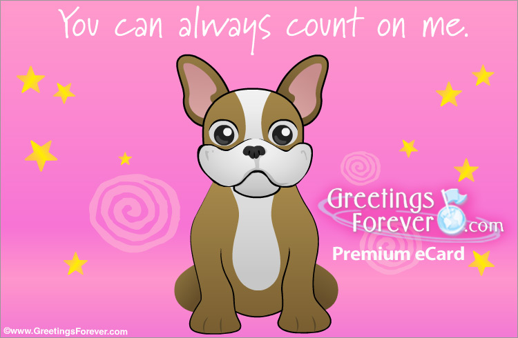 Ecard - eCard in pink with little dog